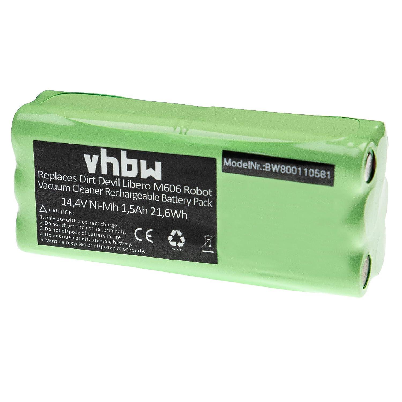 vhbw Batería NiMH 1500mAh (14.4V) para robot aspidador doméstico ...