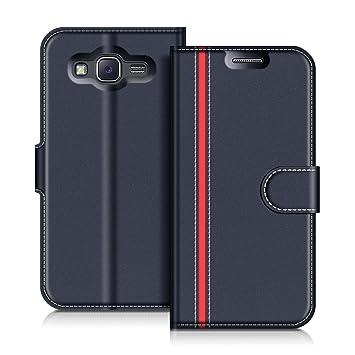 half off c480e aafd4 Samsung Galaxy J5 2015 Case, Coodio Galaxy J5 2015 Leather Case, Samsung  Galaxy J5 2015 Wallet Case, Stylish Blue Magnetic Closure Flip Case Cover  ...