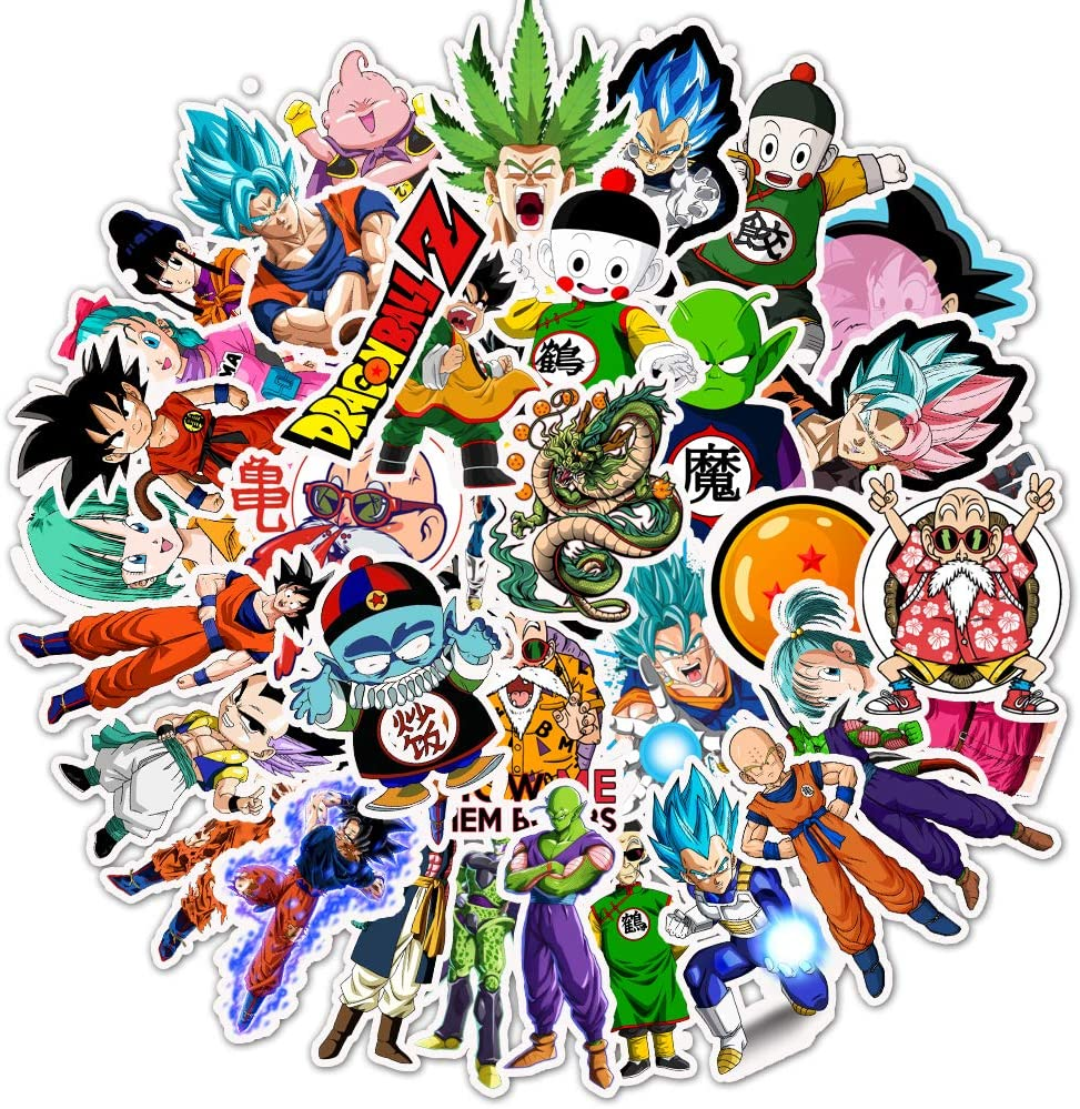 Ratgoo 50 Pcs Waterproof Vinyl Stickers of Anime Dragon Ball Z to Baby Toddler Infant Kids Teens Boys Adult for Laptop Water Bottle Computer Mac Pad Phone Case Hydro Flask Bumper Skateboard Luggage