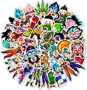 50pcs Classic Anime Dragon Ball Z Laptop Stickers for Water Bottles Phone Computer Skateboard Hydroflasks Cute Animal Monsters Super Z Waterproof Vinyl Stickers for Teens Boys Adults