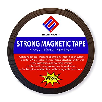 f7d95d60dae Adhesive Magnetic Strip - 120 Mil Thick - Incredibly Strong Flexible  Adhesive Magnetic Tape - 2 quot
