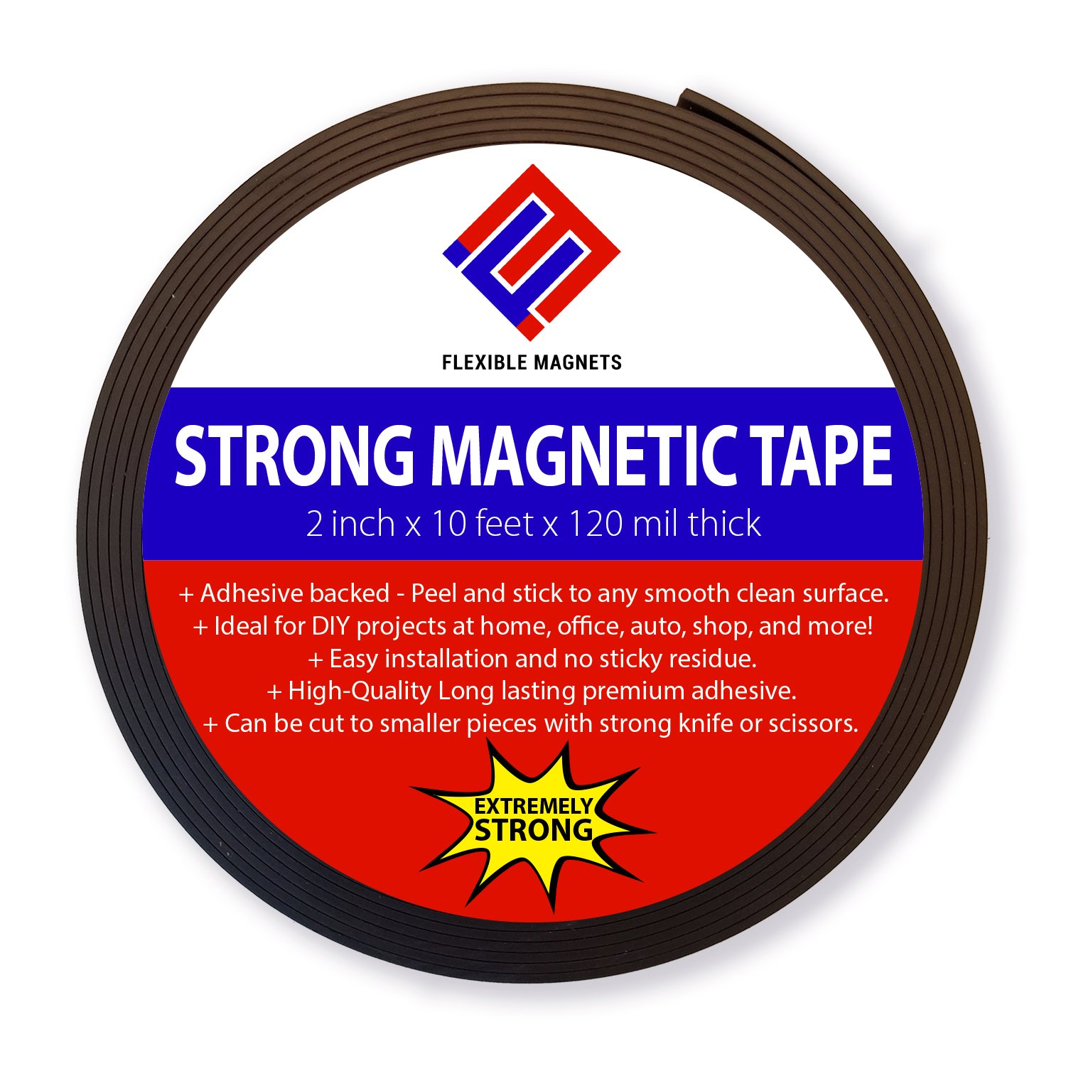 Adhesive Magnetic Strip - 120 Mil Thick - Incredibly Strong Flexible Adhesive Magnetic Tape - 2'' wide x 10 Feet - The STRONGEST and THICKEST Magnetic strip on the market!