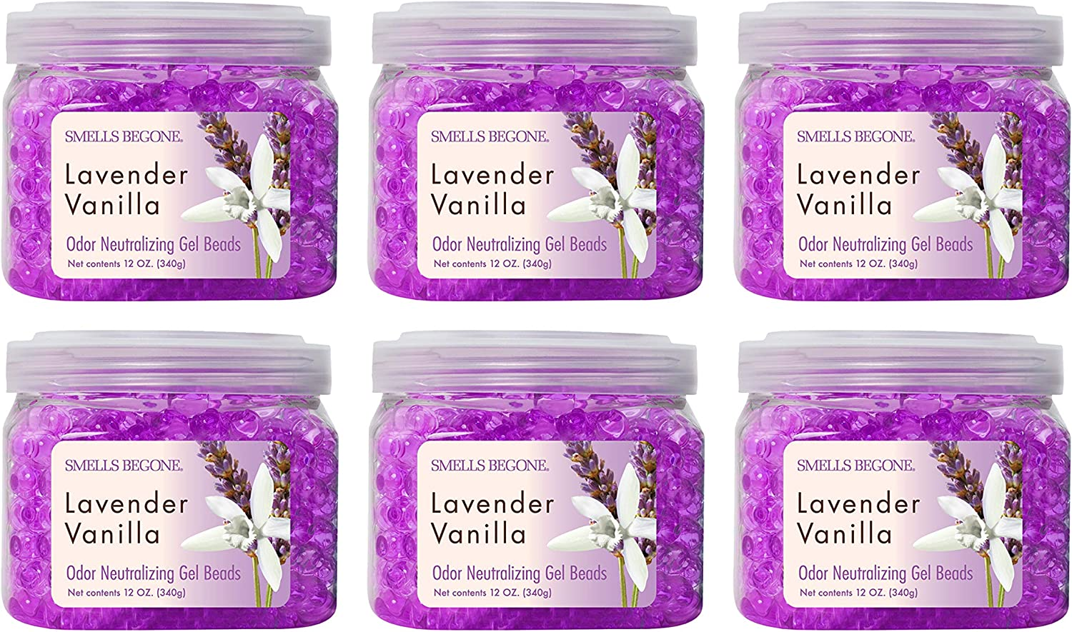 SMELLS BEGONE Odor Eliminator Gel Beads - Air Freshener -Eliminates Odor in Bathrooms, Cars, Boats, RVs and Pet Areas - Made with Natural Essential Oils - Lavender Vanilla Scent (6 Pack, Purple)