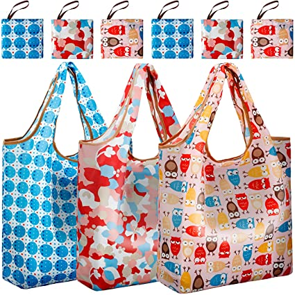 00ffeb931d49 Reger Foldable Nylon Light Weight Compact Grocery Shopping Storage Bags  Reusable & Mathine Washable Fits in Pocket Eco Friendly (Pattern 04, Pack  of ...
