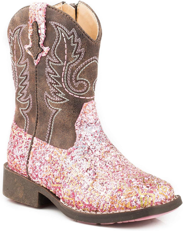 ROPER Girls Glitter Aztec Western Boot Square Toe