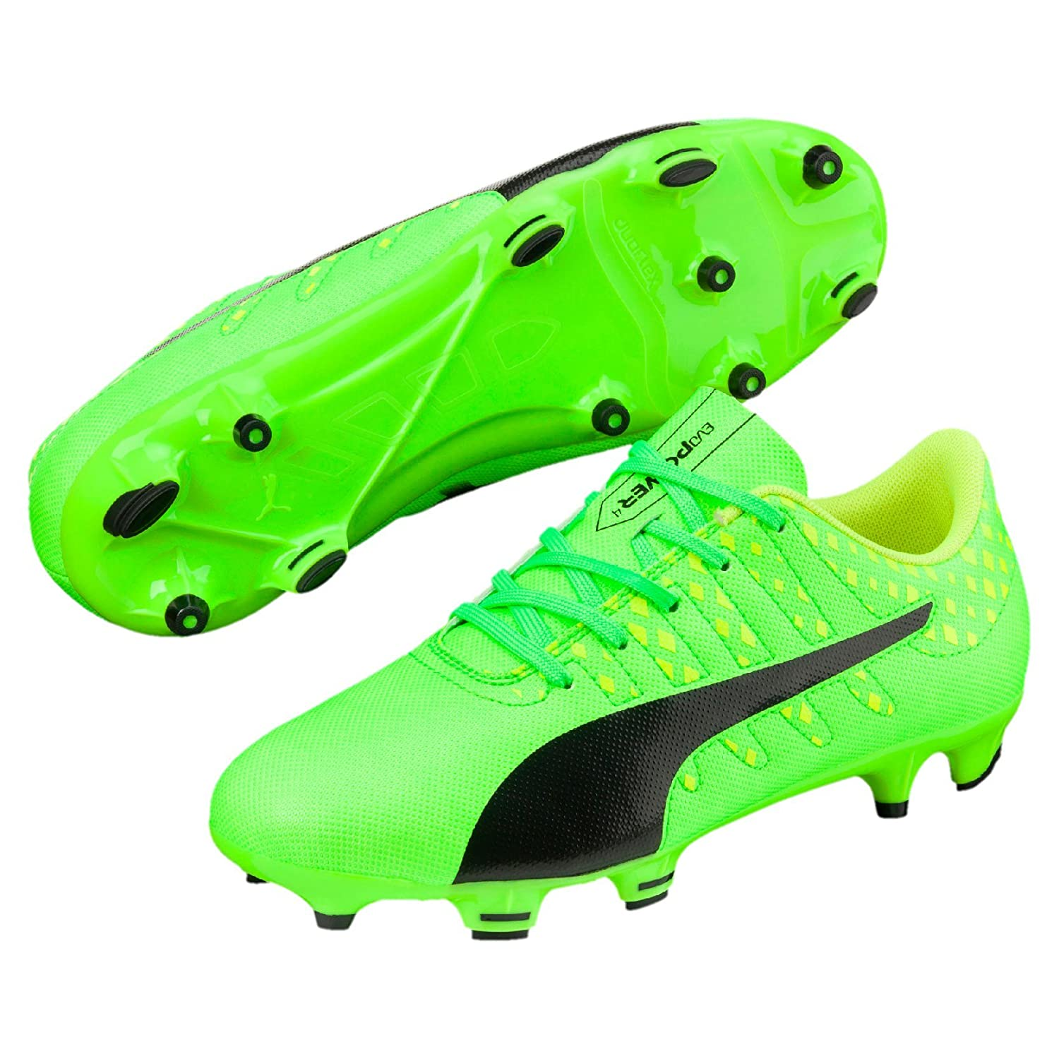 1b4e8fa72 Puma Boy's Evopower Vigor 4 Fg Jr Green Gecko, Black and Safety Yellow  Sports Shoes - 4 UK/India (37 EU): Buy Online at Low Prices in India -  Amazon.in