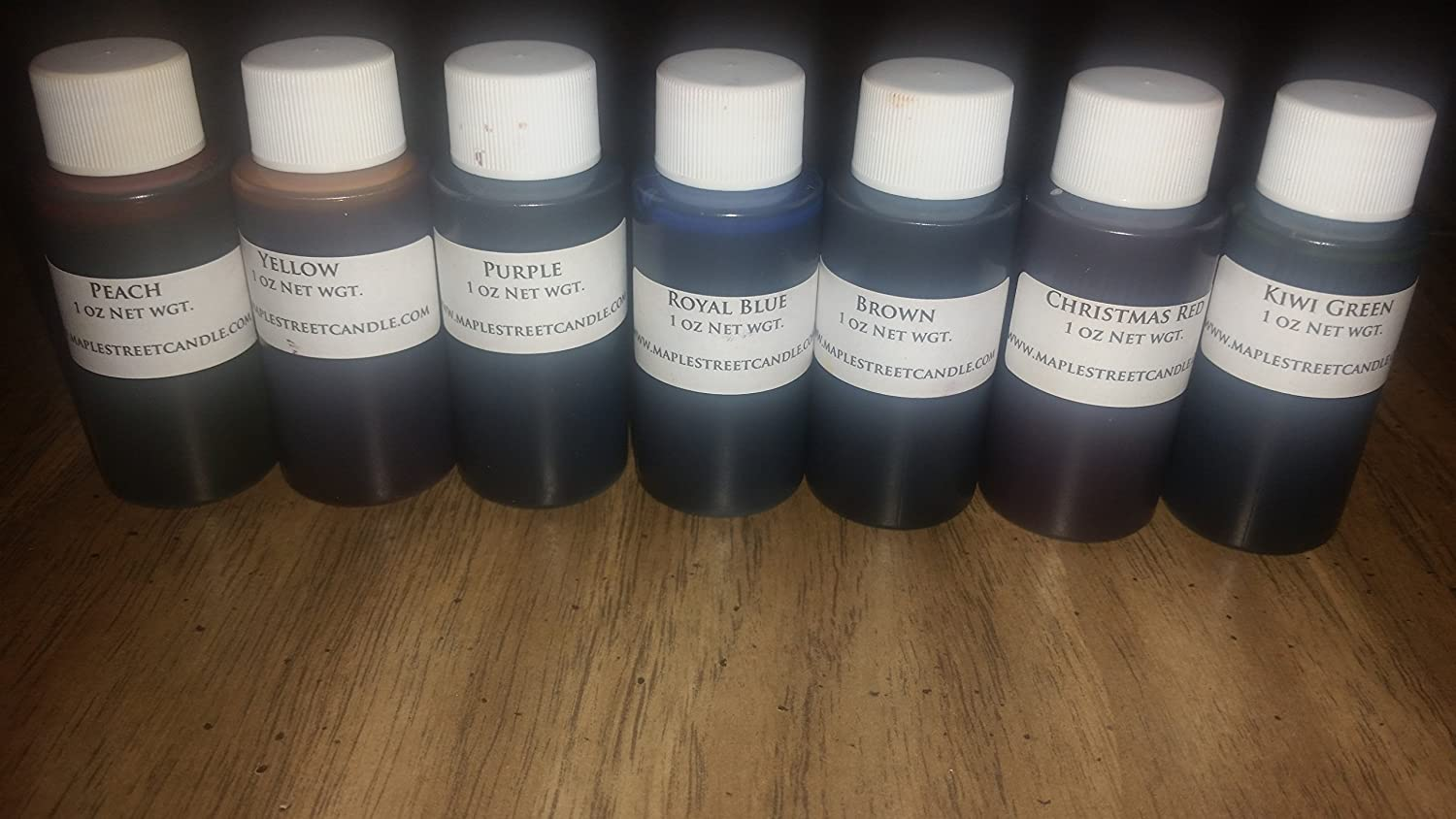 Set of 7-1oz Liquid Candle Dyes Maple Street Candle Company