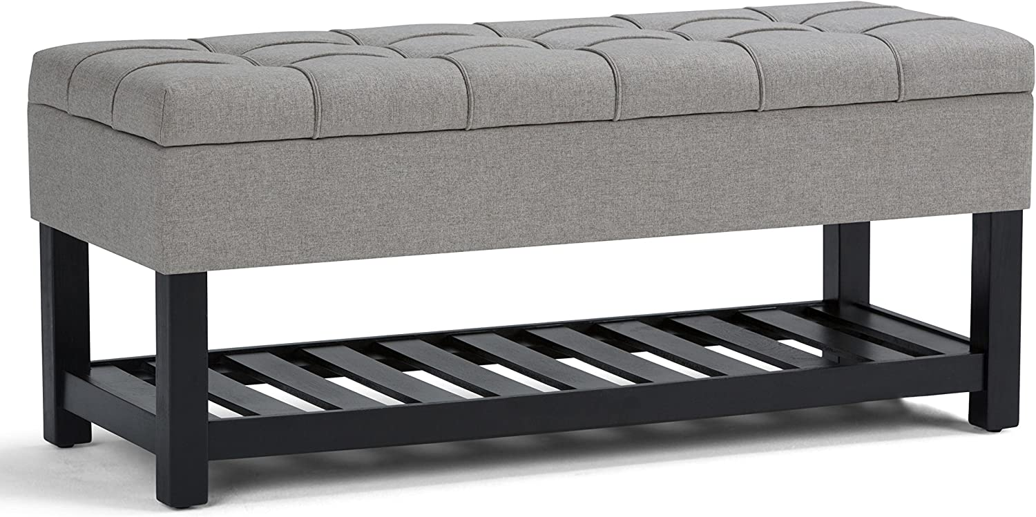SIMPLIHOME Saxon 44 inch Wide Rectangle Storage Ottoman Bench with Open Bottom and Lift Top in Dove Grey Footrest Stool, Linen Look Polyester Fabric for Living Room, Bedroom, Traditional