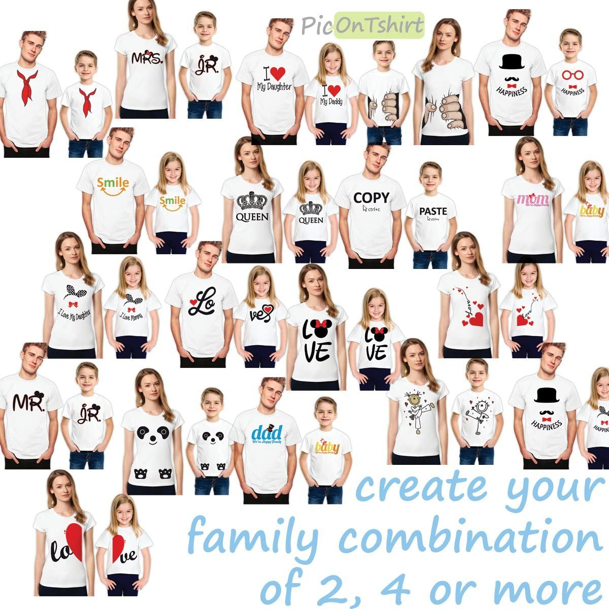 Love and Hearts Mother and Daughter Matching Family T-Shirt Set