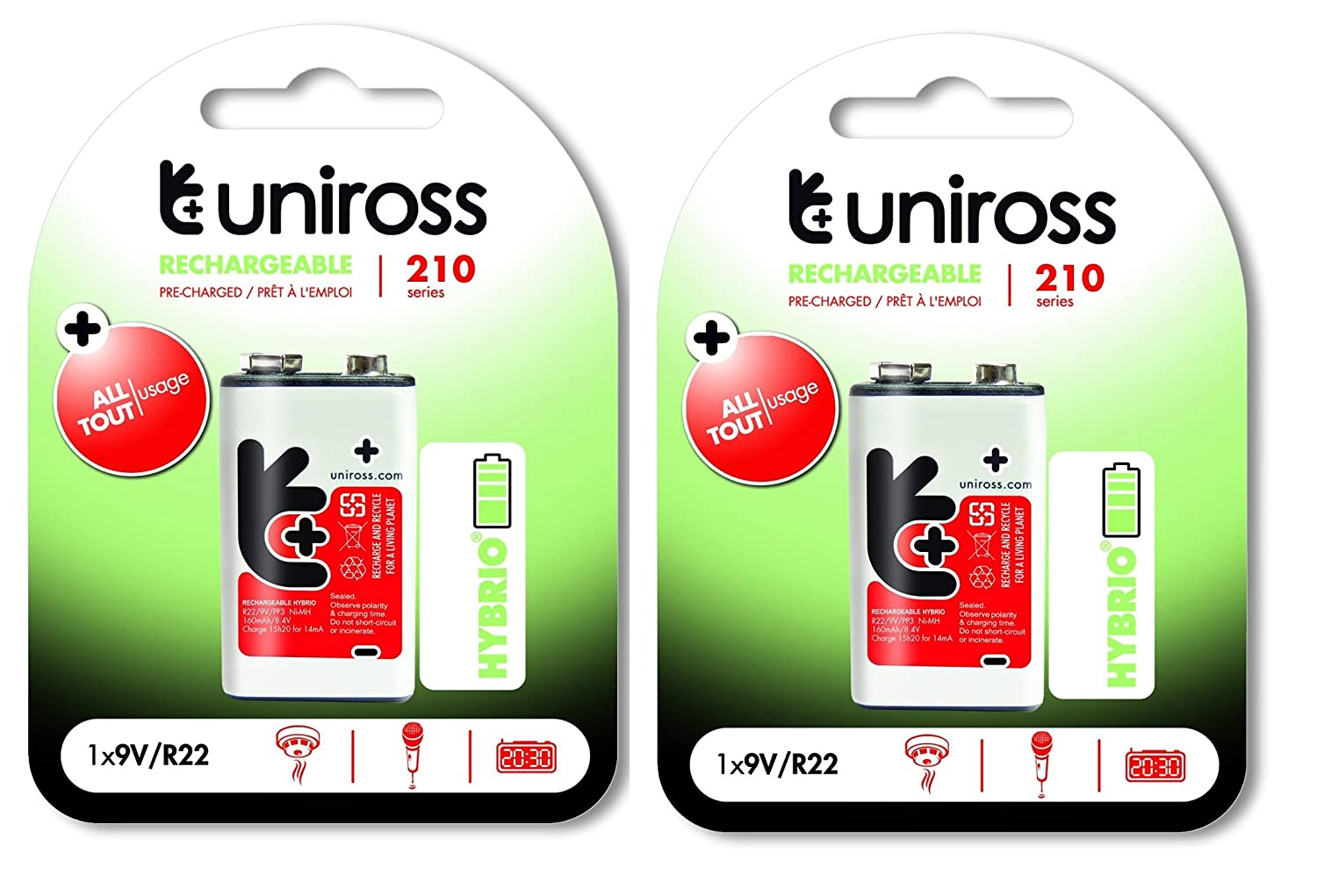 4 x 9V 200mAh Ni-MH UNIROSS HYBRIO Ready to use Rechargeable Batteries PP3 R22