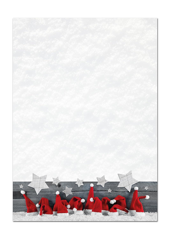 50 hojas rojas blancas gorros Navidad Papel de carta - Papel ...