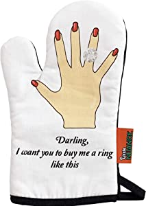 Little Nuance Oven Mitt and Rack Guard Set - Funny Fabric Hand Protector Glove for Cooking, Baking and Roasting- Silicone Cover for Racks and Liners-Safe & Easy-to-Use… (Ring Oven mitt Set)