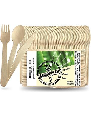 Conjunto de Cubiertos de Madera Desechables de Bamboodlers | 100% Natural, Ecológico, Biodegradable