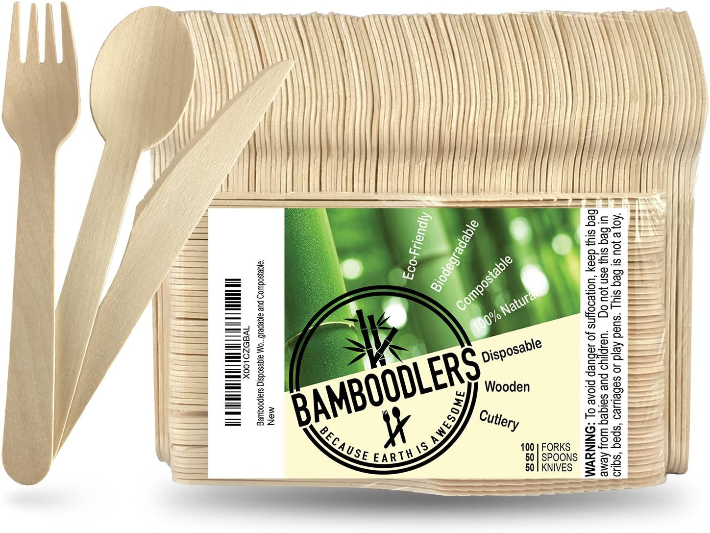 BAMBOODLERS Cubiertos de Madera Desechables | 100% Natural ...
