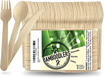 Disposable Wooden Cutlery Set By Bamboodlers 100 All Natural Eco Friendly Biodegradable And Compostable Because Earth Is Awesome Pack Of 200 6 5 Utensils 100 Forks 50 Spoons 50 Knives Amazon Ca Home Kitchen