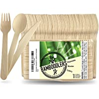 BAMBOODLERS Cubiertos de Madera Desechables | 100% Natural