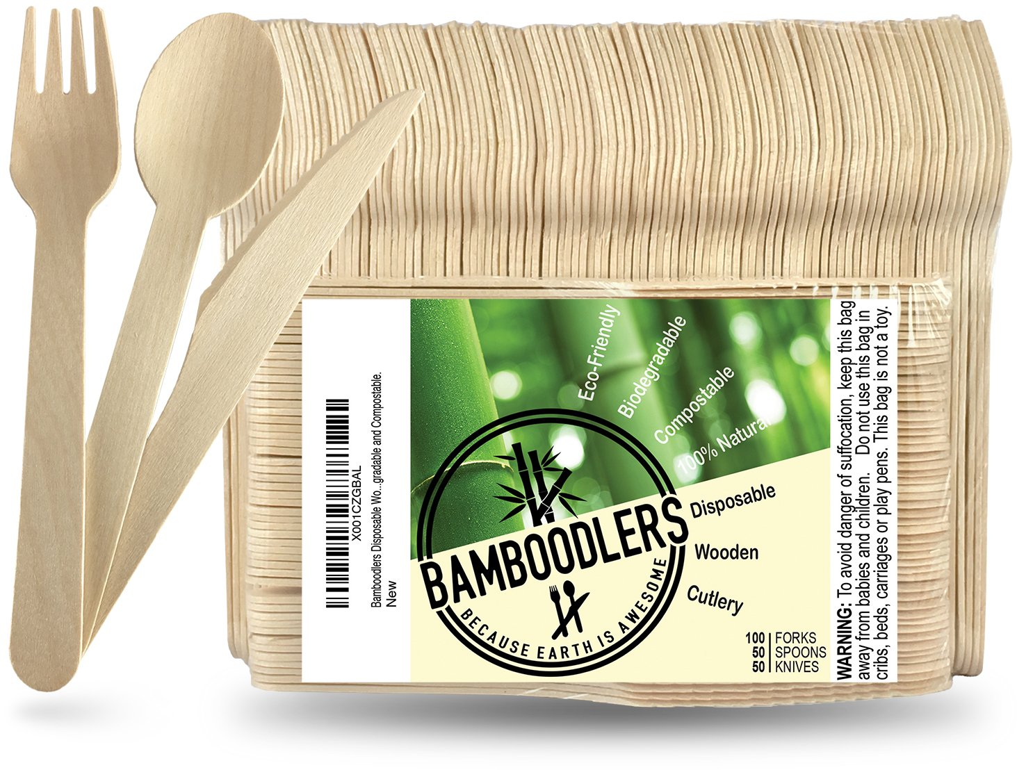 "Disposable Wooden Cutlery set by Bamboodlers | 100% All-Natural, Eco-Friendly, Biodegradable, and Compostable - Because Earth is Awesome! Pack of 200- 6.5"" utensils (100 forks, 50 spoons, 50 knives)"