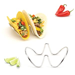 Taco Holder, Taco Stand, Taco Rack, Premium 18/8 Stainless Steel, Taco Holders, Set of Two (Holds 2 Tacos)