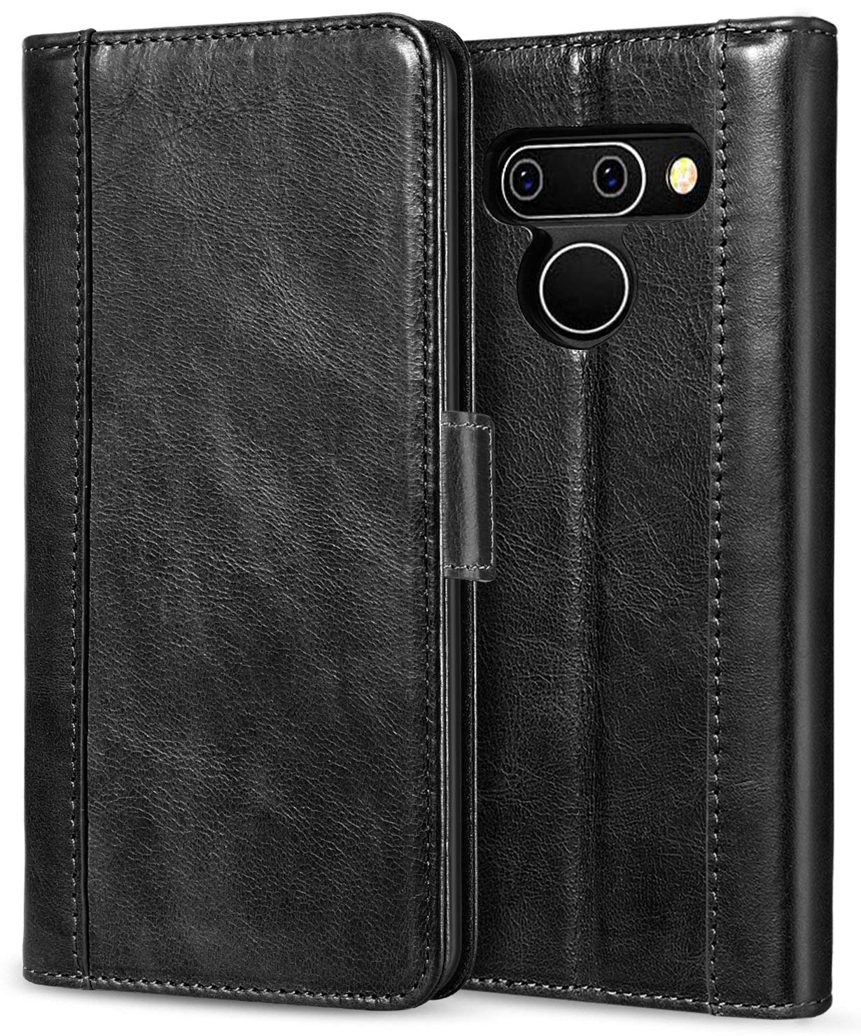 ProCase LG G8 ThinQレザーケースウォレット、フリップケースフォリオカバー付きキックスタンド付きカードホルダーマグネットクロージャ、LG G8 / LG G8 ThinQ 2019用 - ブラック   B07PF8WGLC
