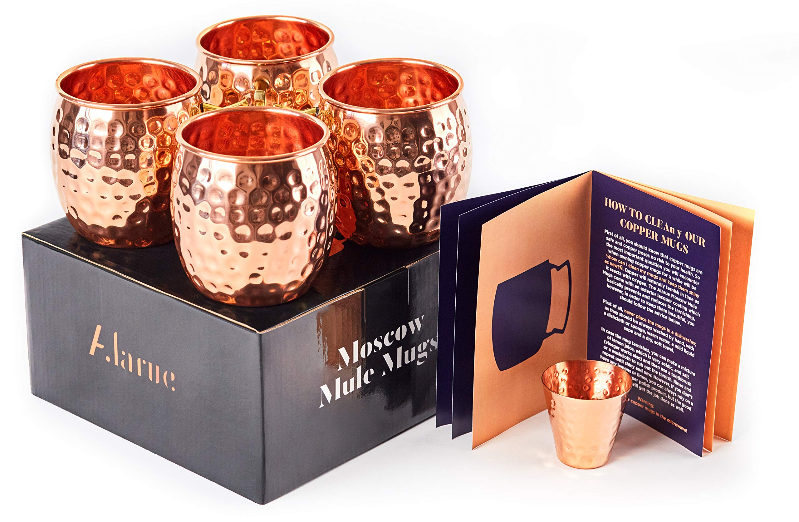 Moscow Mule Copper Mugs Set - 4 Authentic Handcrafted Mugs (16 oz.) with Shot Glass (2 oz.) - Food Safe Pure Solid Copper Mugs - Gift set with Recipe Book Included by ALARUE