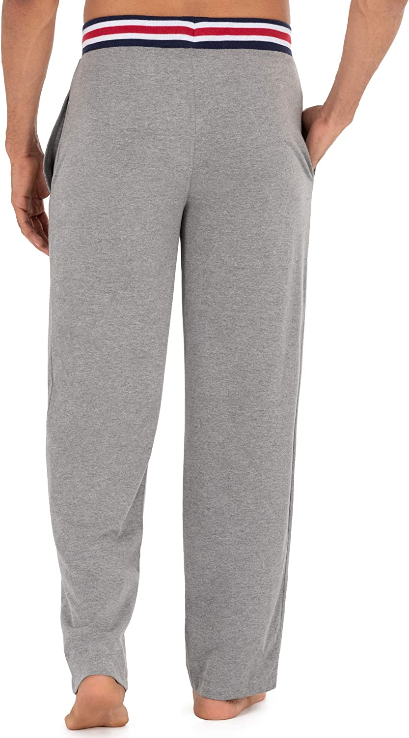 Izod Mens Poly Sueded Jersey Knit Pant with Striped Waistband Pajama Bottom
