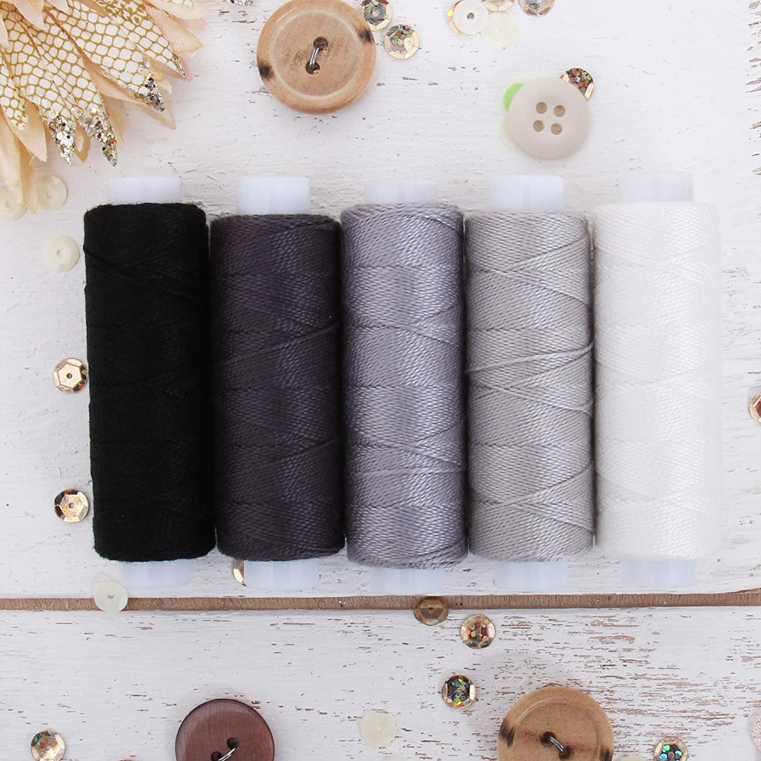 Hand Embroidery Perle Cotton for Friendship Bracelets 5 Grey Shades Needlepoint Crochet 75yd Spools Size 8 Cross Stitch Threadart 5 Color Pearl Cotton Thread Set Grey Shades