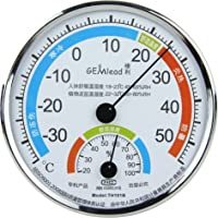 GEMlead温湿度计TH101B(银边白底)(温度计、湿度计组合)(亚马逊自营商品, 由供应商配送)