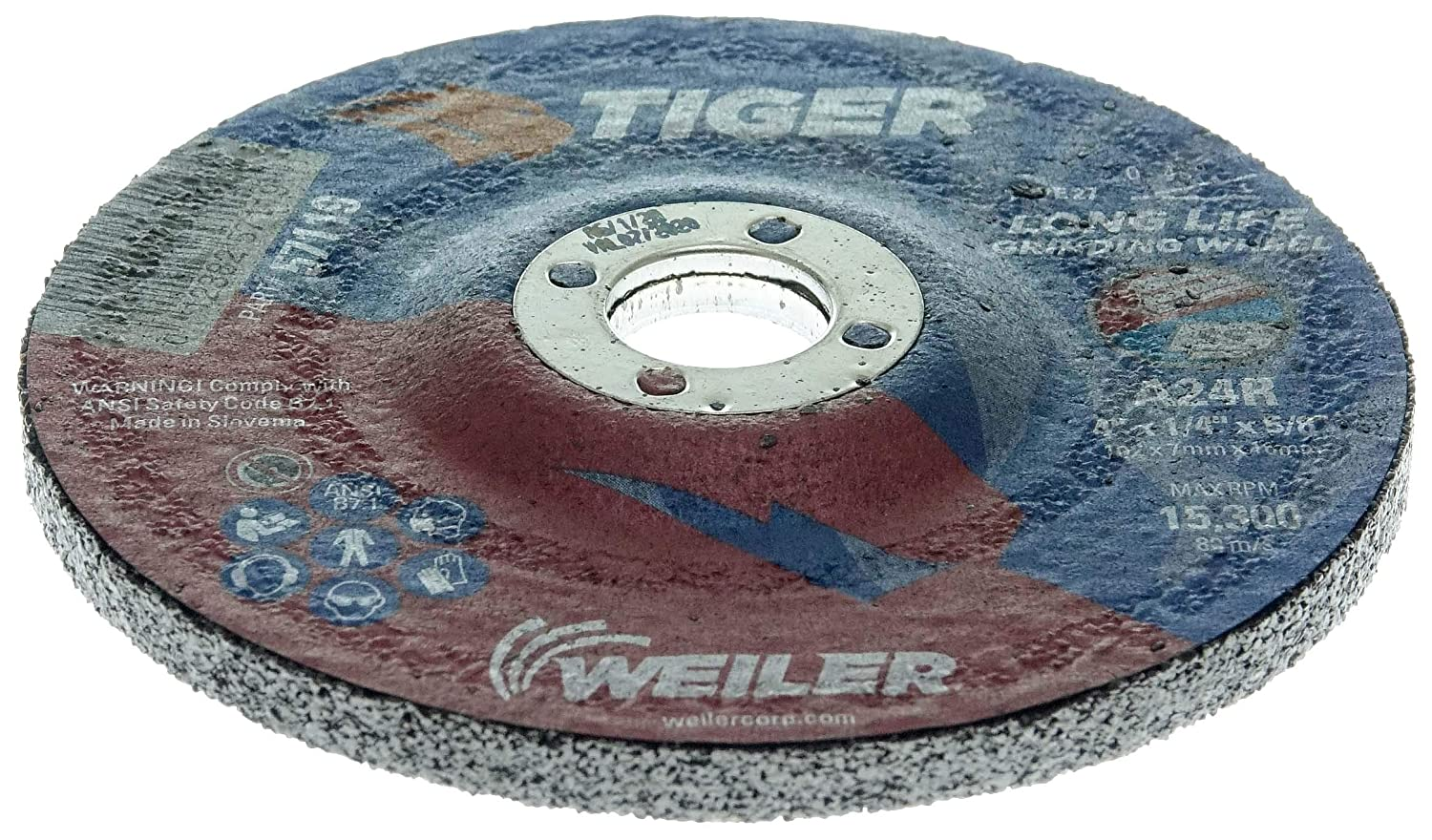 Pack of 10 Coating Cut Cutting Angle Flute Weiler 57119 4 x 1//4 Tiger AO Type 27 Grinding Wheel A24R 5//8 A.H