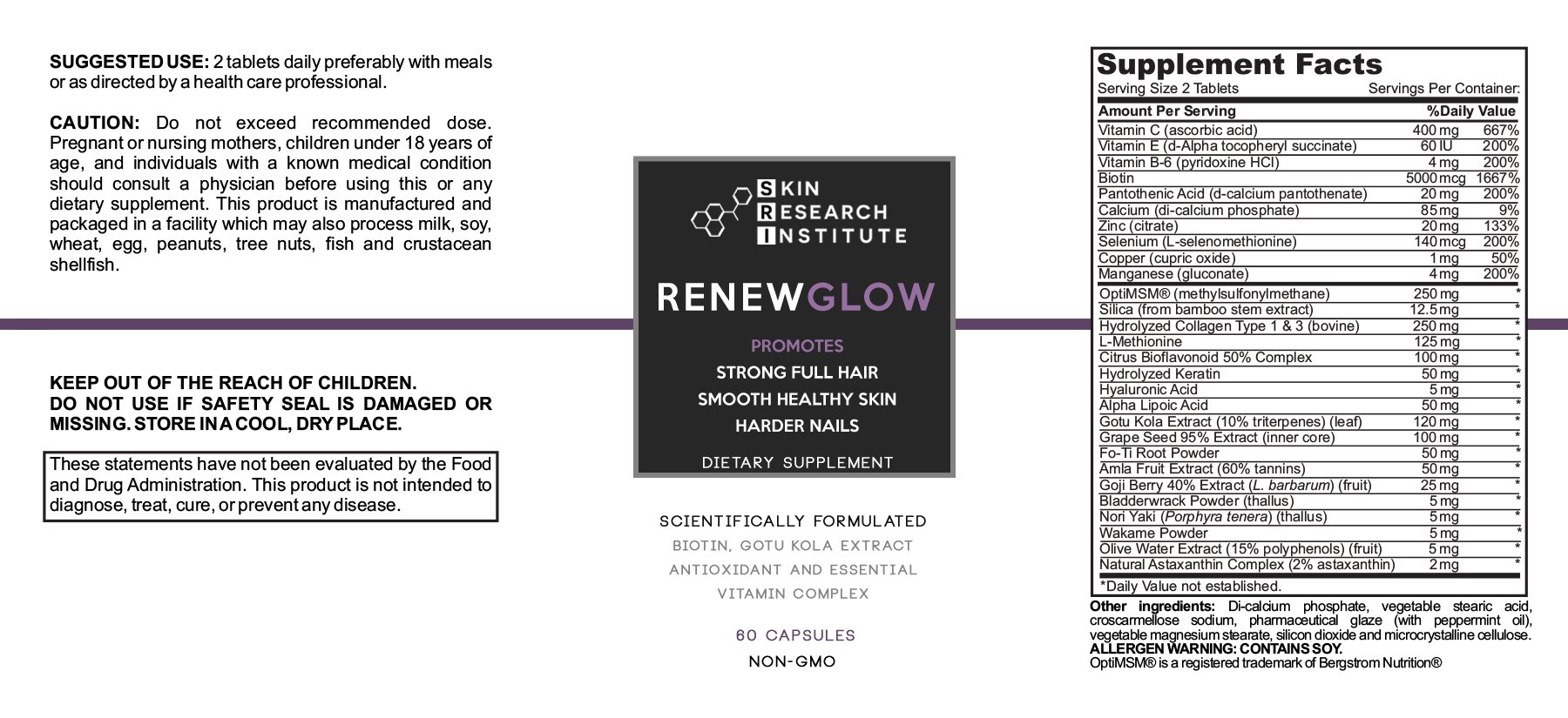 Renewglow - Anti Aging Supplement Fights Against Biotin Deficiency, Free Radicals and Prevents Oxidation to Restore Hair and Skin for A Healthy Glow (3 - Pack) by skin research institute (Image #3)