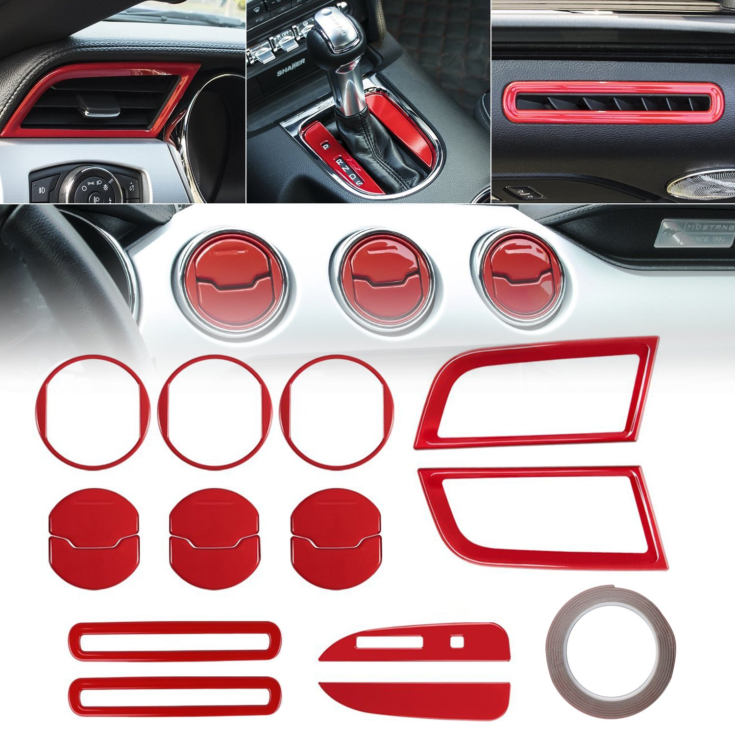 URBEST 2015 2016 2017 2018 for Ford Mustang Interior 15 PCS Accessories Decoration Set Console Central Dash Board Side Air Conditioner Outlet Vent Shift Gear Box Switch Button Cover Trim Red Door