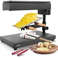 NutriChef Electric Raclette Cheese Melter-Swiss Style Warmer Melts, Stainless Steel Accessory, One Size, blacck