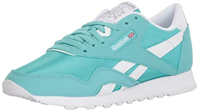 9b4a2f156e980 Reebok Women s CL Nylon Brights Sneaker Turquoise White Stark gre 5 ...