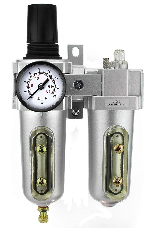3/4' Compressed Air In Line Filter, Regulator, Oiler Lubricator, Combo