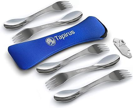 Tapirus Juego de utensilios de acero inoxidable duradero, kit de cubiertos de cuchara, tenedor y cuchillo para camping, pesca y actividades al aire ...
