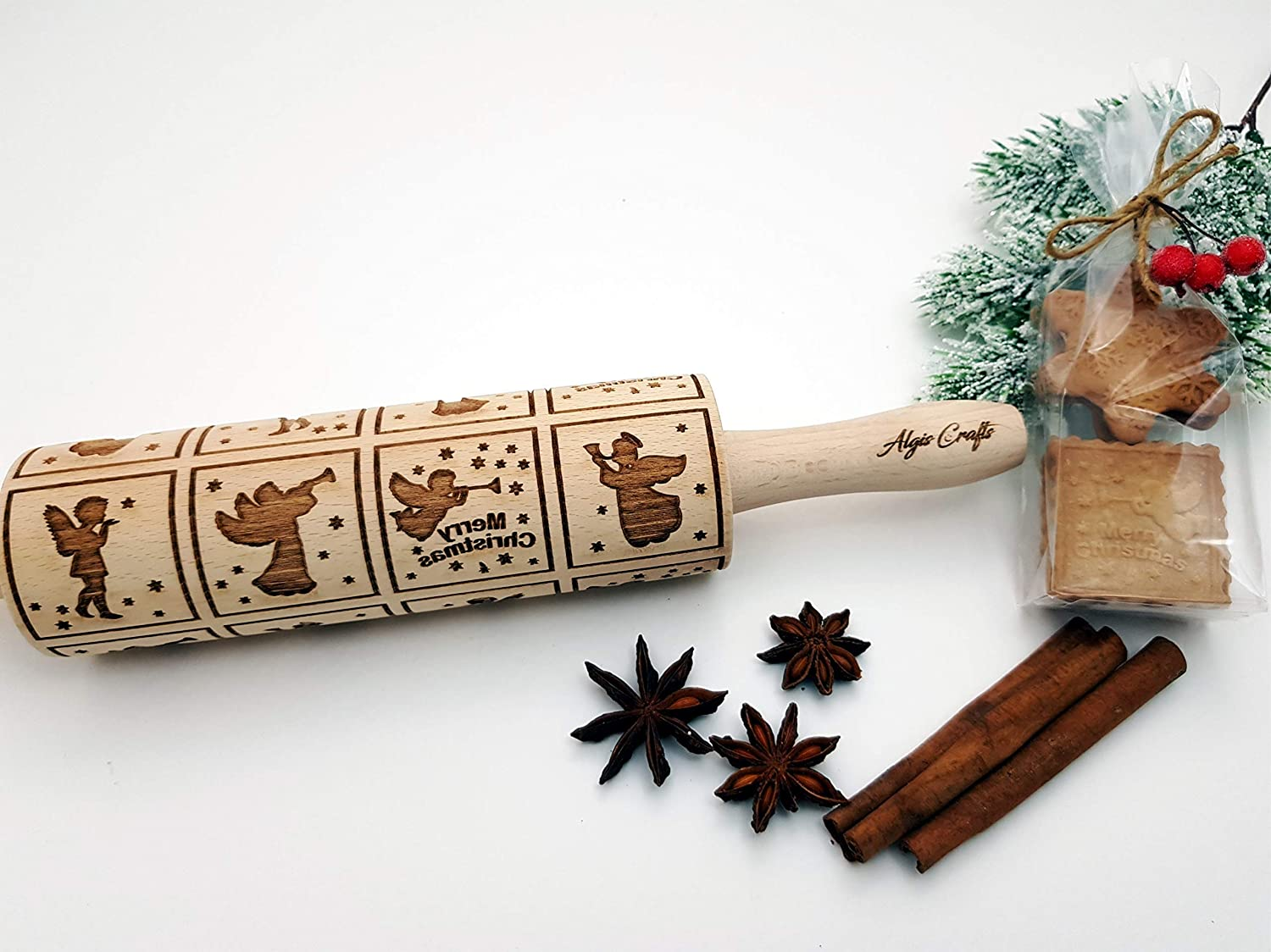Christmas gingerbread cookies Christmas tree Embossing rolling pin with Christmas symbols FLYING ANGELS Rolling pin star snowflake