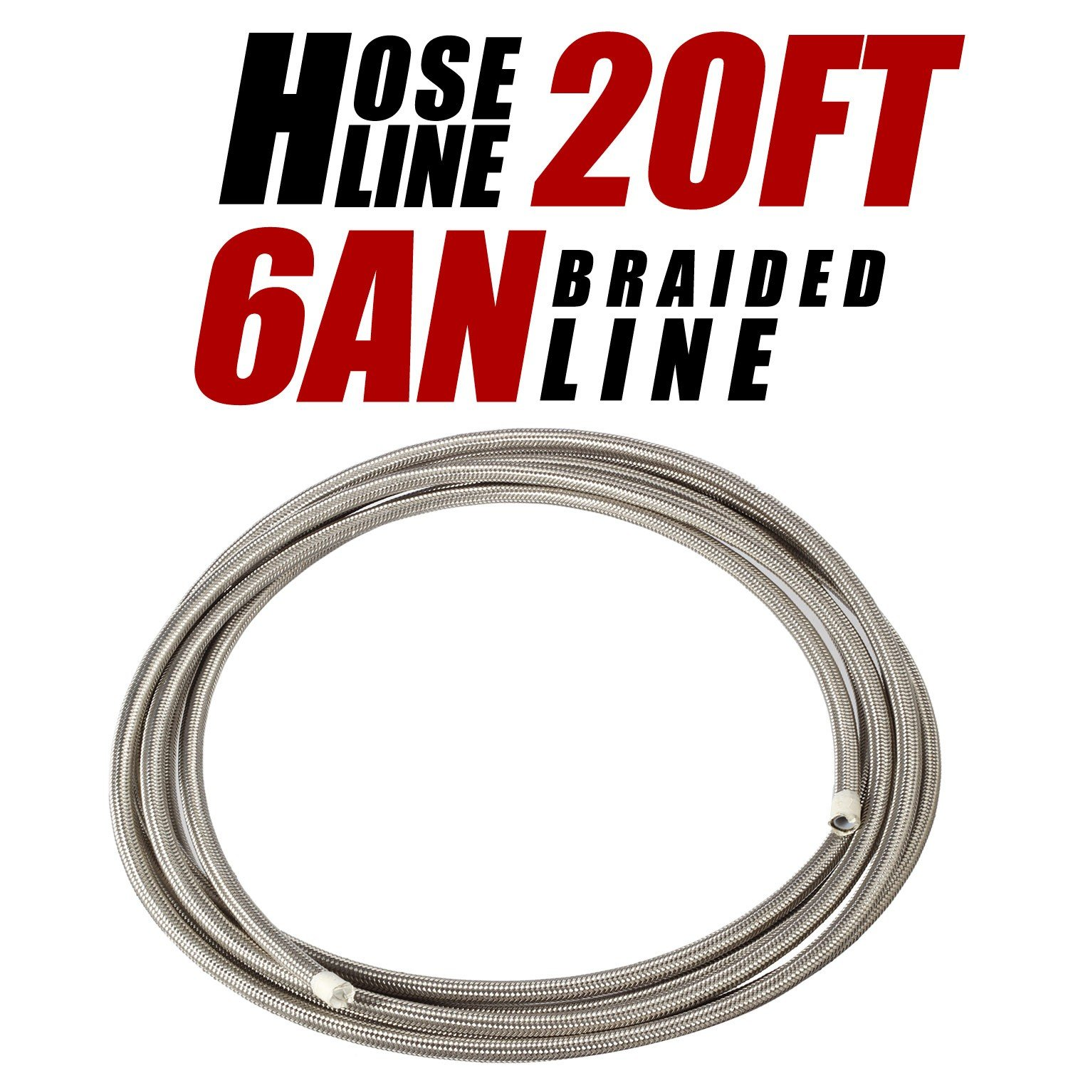 20 Ft 6AN AN6 5//16 Universal Braided Stainless Steel PTFE TEFLON Oil Fuel Gas Line Hose