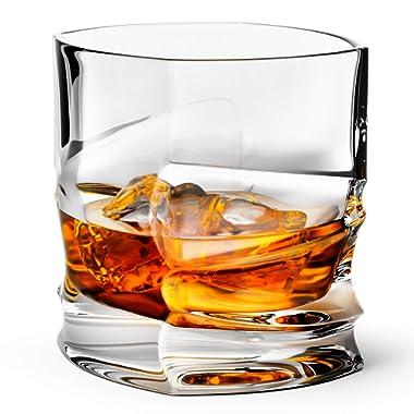 Savoy Whiskey Glass Set of 2 in Leather Gift Box Scotch, Brandy, Liquor Tumbler