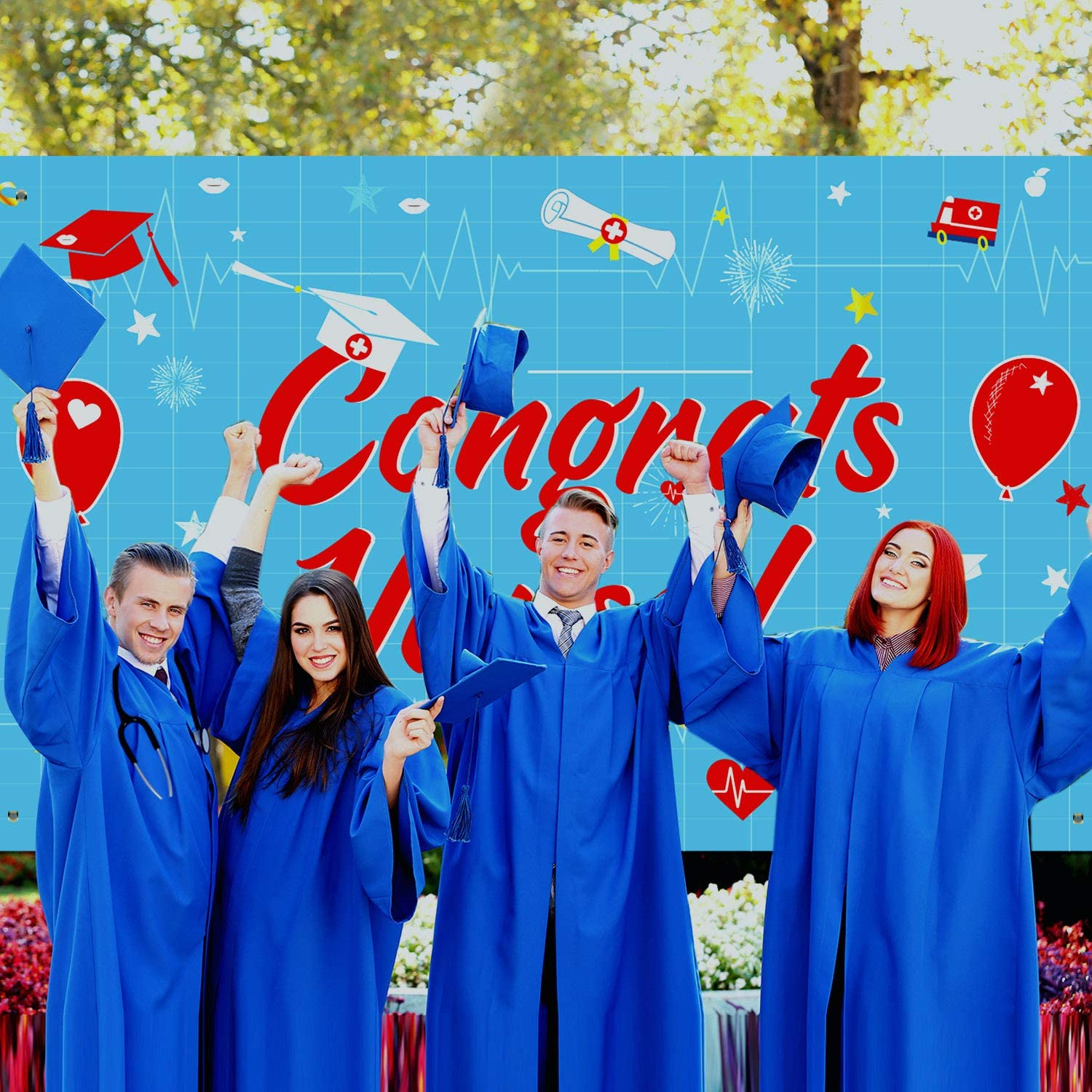 2020 Nurse Graduation Decorations Large Fabric Congrats Nurse Sign Backdrop Banner Background for 2020 Graduation Indoor//Outdoor Party Supplies Blue and Red Nursing Graduation Party Decorations