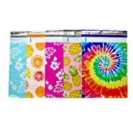 Designer Poly Mailers 10x13 : Mint Hawaiian, Citrus, Pink Hawaiian, Pineapple, Tie Dye ; Printed Self Sealing Shipping Poly Envelopes Bag Assorted (40 Mix Variety Pack #6)
