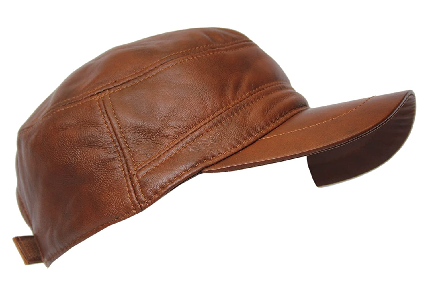 8366ccce4a449 Men s Real Leather Genuine Leather TAN Wax Cap Ivy Cap Gatsby Newsboy Golf  Driving Flat Hat  Amazon.co.uk  Clothing