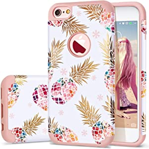 iPhone 6 Case,iPhone 6S Case Pineapple,Fingic Slim Floral Pineapple Design Case Anti-Scratch&Slip Cover Hard PC Soft Rubber Silicone Cover Case for iPhone 6/ 6S 4.7'',Cute Pineapple/Rose Gold