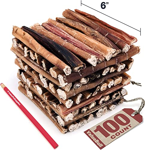 ValueBull Bully Sticks for Dogs, Medium 6 Inch, 100 Count – All Natural Dog Treats, 100 Beef Pizzle, Single Ingredient Rawhide Alternative, Grass Fed, Fully Digestible