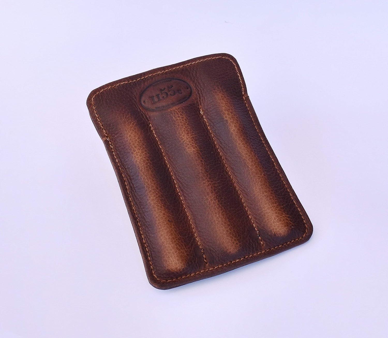 Triple Pen Sleeve in Adventure Brown Leather