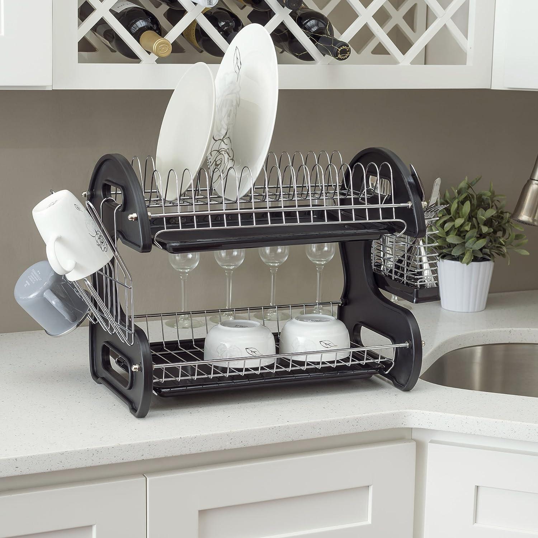 Home Basics Dish Plastic Drainer 2 Tier Black Hds Trading Corp