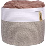INDRESSME Large Cotton Rope Storage Basket - Woven Blanket Basket in Living Room Pillows Storage Bins with Handles for Toys P