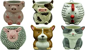 Matty's Garden Animal Ceramic Succulent Planters Set of 6   2.5 Inch Small Cactus Pots with Drainage Hole Dog Cat Pig Chicken Cow Sheep (Small Set of 6 Barnyard Animals)