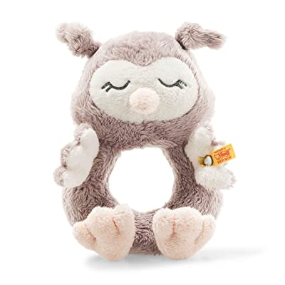 Steiff Soft Cuddly Friends Ollie Owl Grip Toy with Rattle, 14 cm, Rose Brown : Baby