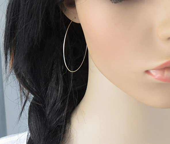 01ecb94ce Amazon.com: Extra Large Hoop Earring in 925 Sterling Silver, Thin Hoops:  Handmade