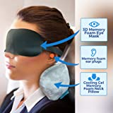 Cooling Gel Memory Foam Neck & Travel Pillow Kit. 3D Memory Foam Sleep Mask & Ear Plugs. Patent Pending Cervical Contour Design Is Ideal for Airplane or Car Travel. Portable Microfiber Carrying Bag.