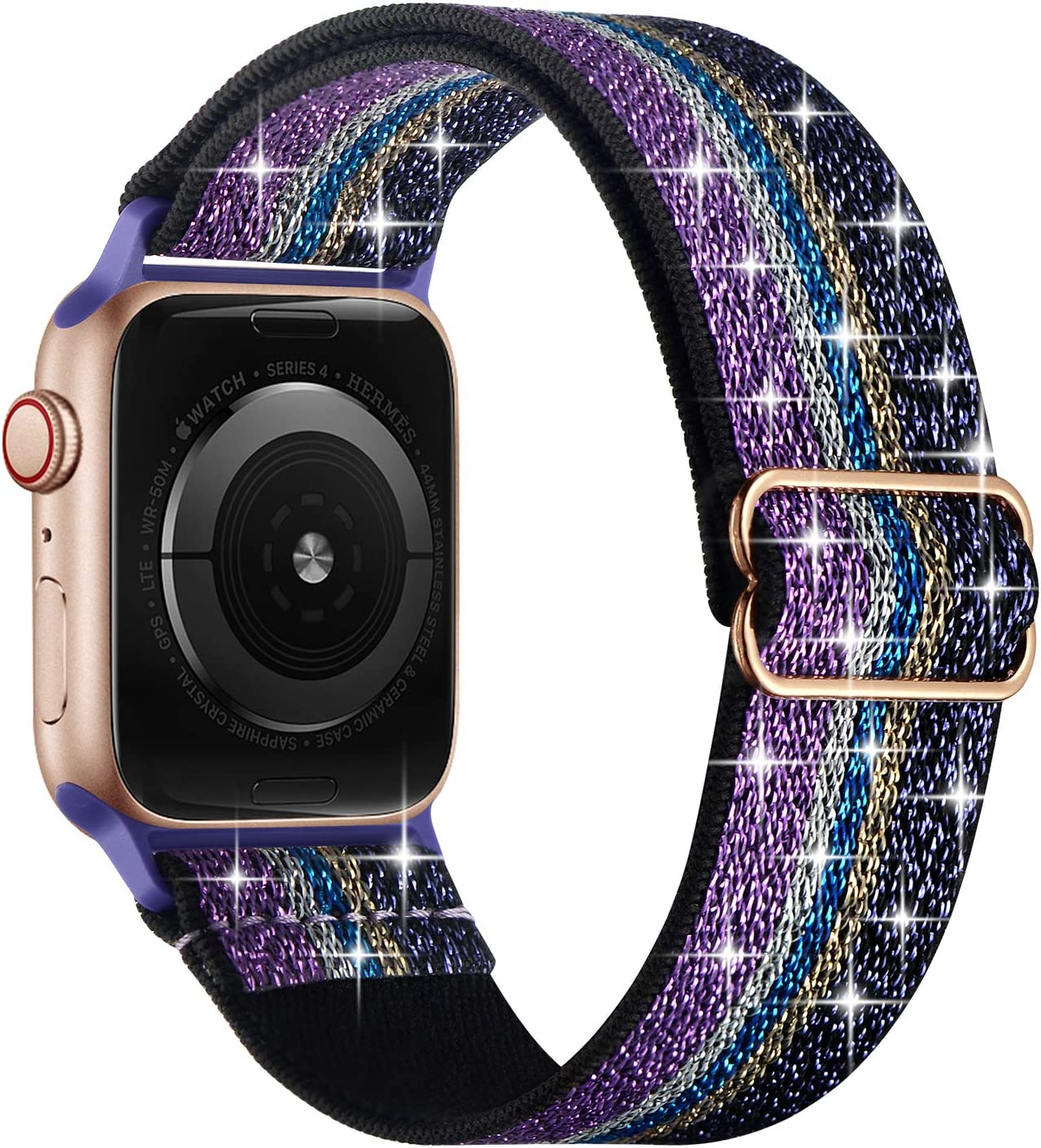 OXWALLEN Sparkly Stretchy Elastic Solo Loop Compatible with Apple Watch Bands 42mm 44mm, Adjustable Braided Sport Nylon Women Strap for iWatch SE Series 6/5/4/3/2/1, Z/Violet/Purple
